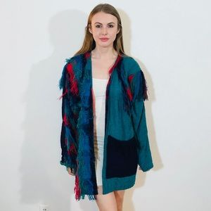 CRYSTAL VINTAGE UNIQUE FRINGE JACKET L