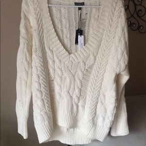 Cream woven sweater