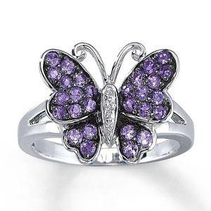 Amethyst Butterfly Ring Diamonds Sterling Silver