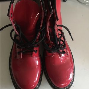 Red shiny women's dr martens