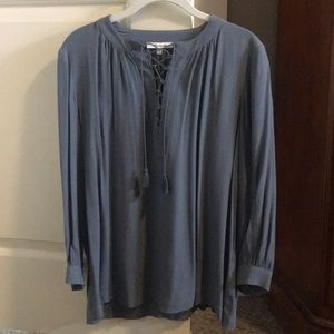 Madewell blouse, size XS, Grey/blue, tie front