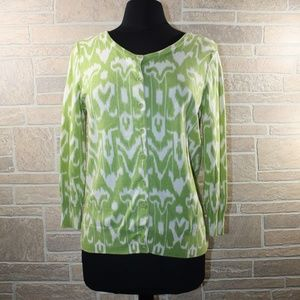 Talbots Green and White Cardigan Size Medium