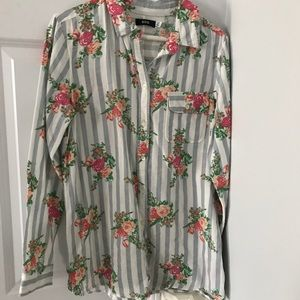 Urban Outfitters Floral Striped Button Down