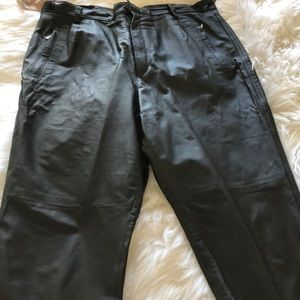 Pants - Plus size leather cropped pants