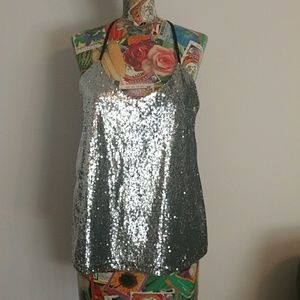 Racerback sequin tank top