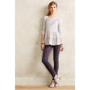 Anthropologie Meadow Rue Grey Tiered Crochet Top