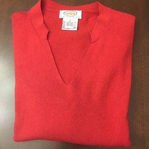 🎄Talbots Red V-neck Short Sleeve Sweater
