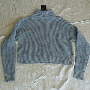 NWT F21 gray ribbed crop turtleneck sweater