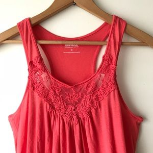 EXPRESS Coral Lace Racerback Tank (S)