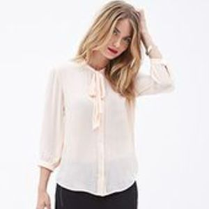 Contemporary Tie-front Chiffon Blouse