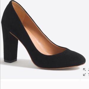 J. CREW black suede block heels