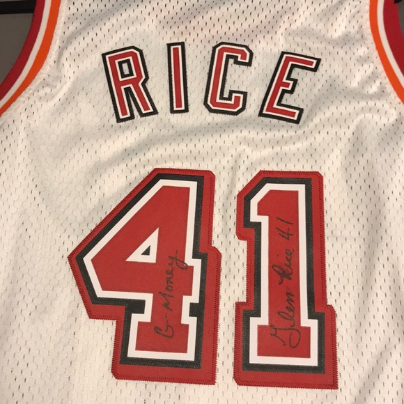 timeless design 84bcd 60e64 Glen Rice Autographed Stitched Miami Heat Jersey