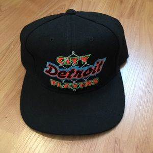 Vtg Starter Detroit City Players Wool Snapback Hat