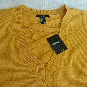 NWT F21 mustard caged vneck crop sweater