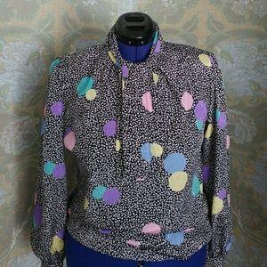 1980's Pastel Confetti/Polka Dot Blouse - Size 8