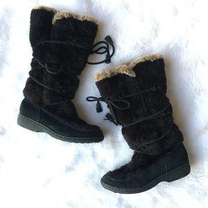 Sam Edelman Eskimo Fur Boots Black Lace Up