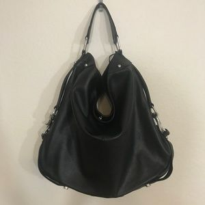 """NEW"" REBECCA MINKOFF NIKKI BLACK LEATHER HOBO"
