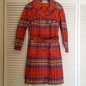 Vintage plaid all weather coat