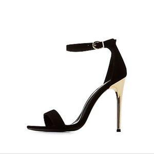 Black & gold Charlotte Russe strappy sandal heel