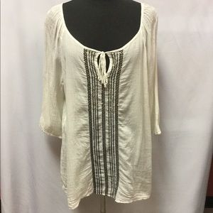 Old Navy embroidered sequin cotton top size xl