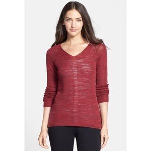 Eileen Fisher Slub V-Neck Tunic Sweater in Red