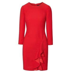 Red Ruffle Shift Dress