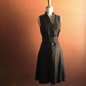ZARA Basic Ramie Chocolate Dress Size S