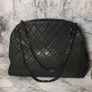 Olive green Chanel mademoiselle bowling bag