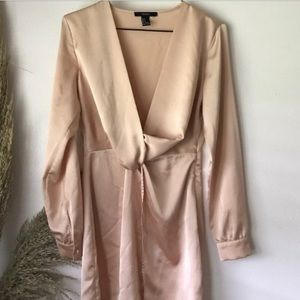 champagne colored low cut silky dress