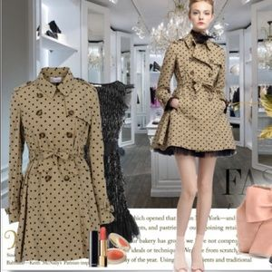 Red valentino fit and flare polka dot trench coat