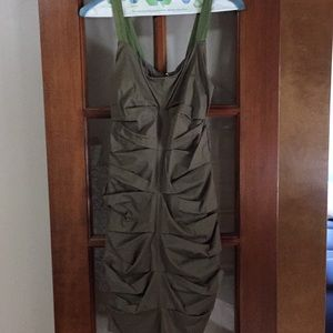 Pleated olive green dress