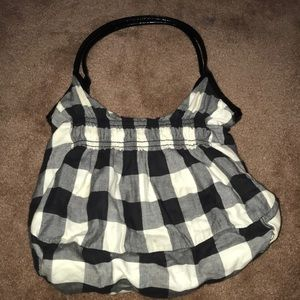 Black and white plaid tote/boho bag