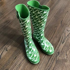 Skerry Green Anchor Rain Boots 8M