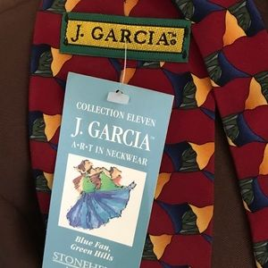 "J Garcia Men's  Art Tie ""Blue Fan Green Hills"""