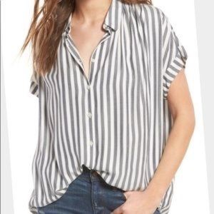 Madewell Central shirt gray stripe large