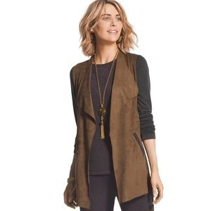 Chico's Travelers Faux Suede Knit Jacket Shawl