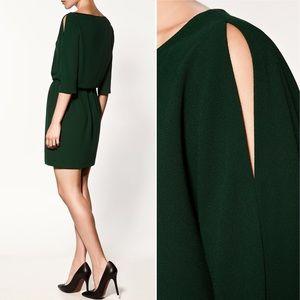 Zara | Emerald Green Dress with Split Sleeves