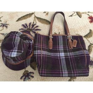COACH WOOL PURPLE TARTAN TOTE BAG & HAT SET