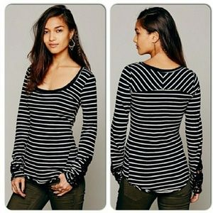 Free People hard candy striped lace cuff top