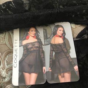 Black off shoulder lace lingerie