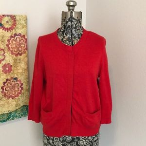 Anthropologie Moth Red  3/4 Sleeve Cardigan