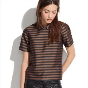 Madwell stripped line silk top