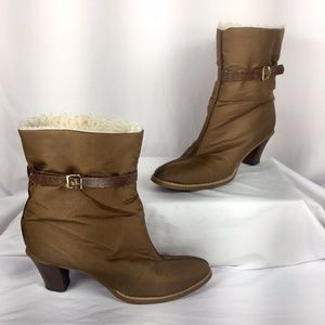 Vintage 60's Shearling Lined High Heel Snow Boots