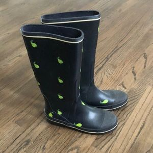 J. Crew Navy Pear Rain Boots 9
