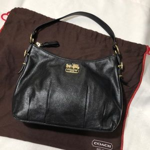 COACH Black Madison Leather Purse Handbag Small