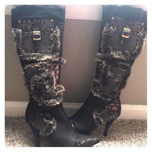 Fur/Python print high boots