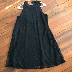 High necked, sleeveless black lace dress worn once