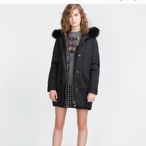 Zara Long Quilted down parka