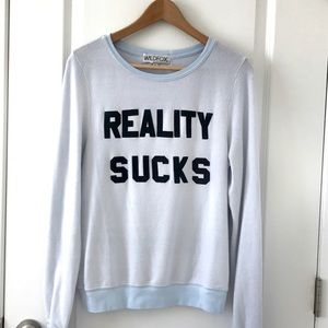 """WILDFOX """"Reality Sucks"""" Baggy Pullover Size XS"""