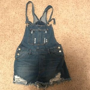 Stella Distressed Overall Jean Shorts